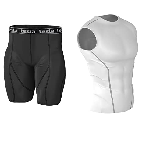 Image Unavailable. Image not available for. Color  Tesla Mens Compression  Base Layer Shirt   Short 1 Set ... dcbe474d8