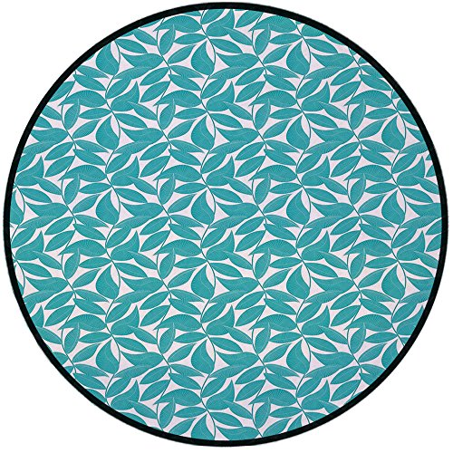 Printing Round Rug,Turquoise,Foliage Pattern with Lined Leaves Tropical Themed Image Graphic Stripes Decorative Mat Non-Slip Soft Entrance Mat Door Floor Rug Area Rug For Chair Living Room,Turquoise W