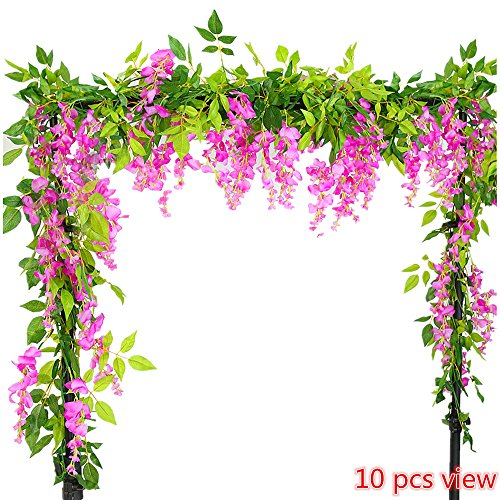 Mosaic Wall Hanging Home Decor (Felice Arts 2 Pcs Artificial Flowers 6.6ft/piece Silk Wisteria Ivy Vine Green Leaf Hanging Vine Garland for Wedding Party Home Garden Wall Decoration (Rose Red))
