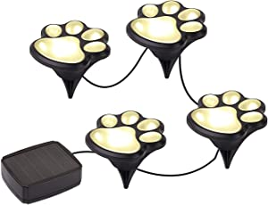 Solar LED Pet Paws Animal Prints Outdoor Garden Lights - Decorative- Set of 4