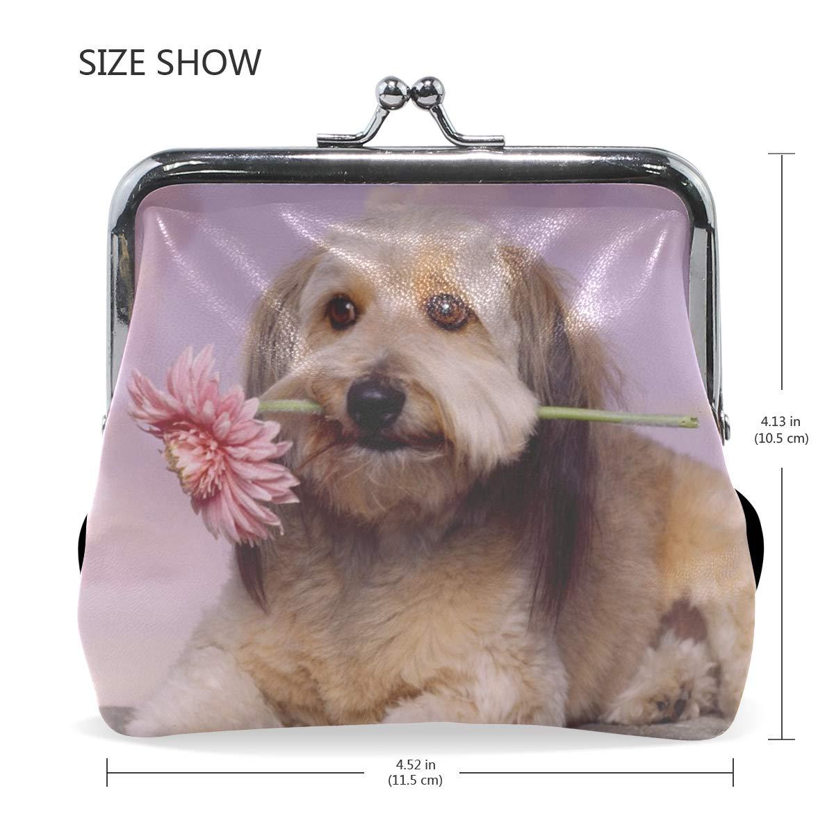 Rh Studio Coin Purse Clasp Closure Dog Muzzle Flower Waiting Print Wallet Exquisite Coin Pouch Girls Women Clutch Handbag Exquisite Gift