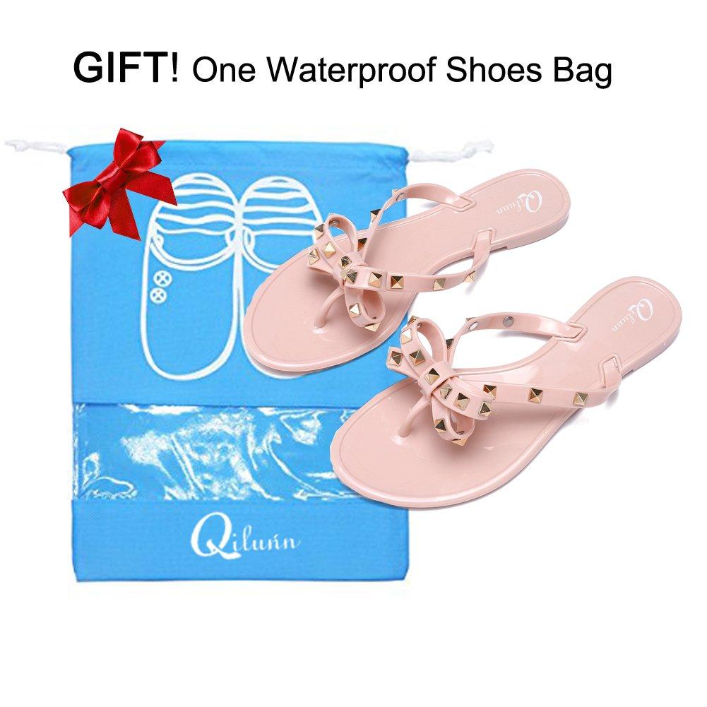 4175a8d4f Qilunn Womens Rivets Bowtie Flip Flops Jelly Thong Sandal Rubber Flat  Summer Beach Rain Shoes larger image