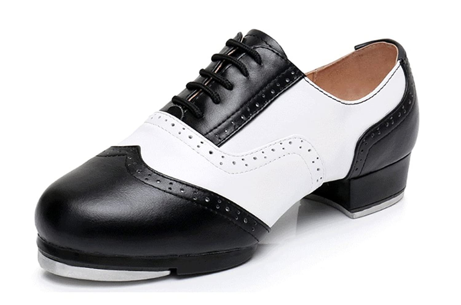 Gogodance Genuine Leather Adults Men Women International Black and White Tap Dance Shoes Size US 4.5-13 B07829J7JQ 13 US / Foot Length 11.63