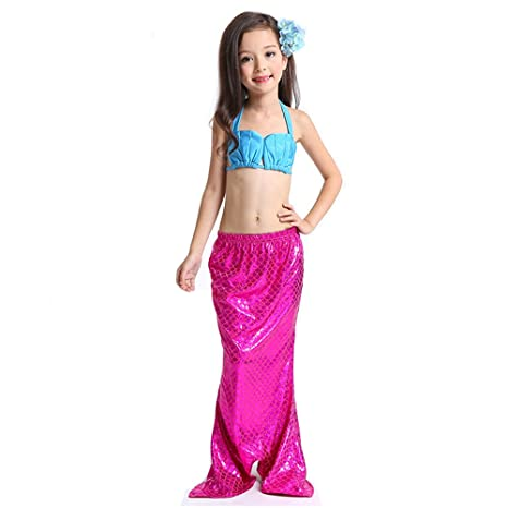 JYSPORT niña Traje Disfraz de Cola de la Sirenita niños Bikini Set ...