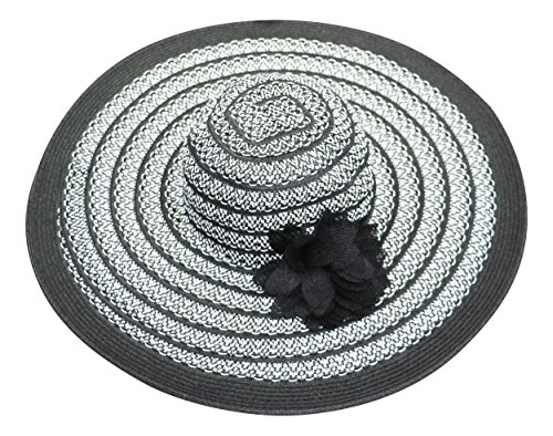 Nine West Removable Flower Pin Packable Super Floppy Sun Hat (Black/White, One Size) (Removable Pin Flower)