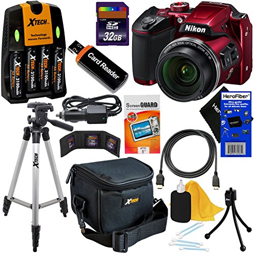 - Nikon COOLPIX B500 Wi-Fi, NFC Digital Camera w/40x Zoom & HD Video (Red) - International Version (No Warranty) + 4 AA Batteries with Charger + 10pc 32GB Dlx Accessory Kit w/ HeroFiber Cleaning Cloth