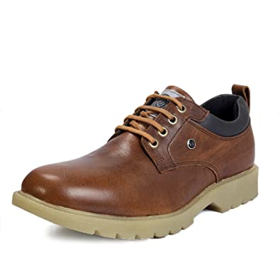 75bf07c7254 Bacca Bucci Real Leather Steel Toe Cap Lace up Combat Boots Light Weight- Brown  Buy Online at Low Prices in India - Amazon.in