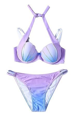 4275ef887d JapanAttitude Ensemble Maillot de Bain Bleu et Rose en Forme de Coquillage  Push-up, sirène: Amazon.fr: Vêtements et accessoires