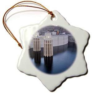 3dRose orn_92239_1 Low Water levels at The Hoover Dam, Lake Mead, NV US29 MPR0047 Maresa Pryor Snowflake Porcelain Ornament, 3-Inch