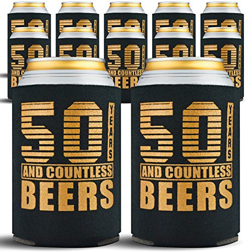 50th Birthday Gifts Men or for Women - 12-Pack Can Coolers - 50th Birthday Gift Ideas Beer Sleeve - 12 Beer Cooler Insulated Sleeves - 50th Birthday Decorations for Men, Black with Gold Lettering -