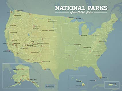 Best Maps Ever US National Parks Map 18x24 Poster (Natural Earth)