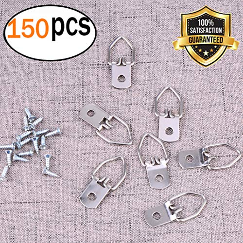 Garkup D Ring Picture Hangers 150 Heavy Duty Single Hole D Ring with Screws (Frame hooks Silver ()