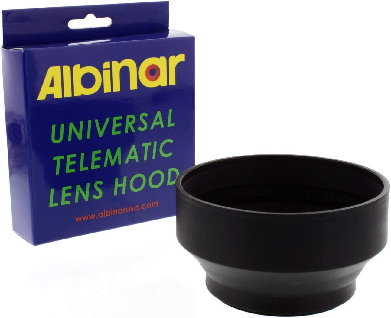 Albinar 77mm Universal Telematic Wide/Zoom 3 Position Rubber Lens Hood