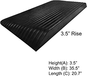 "Electriduct 3.5"" Rise Rubber Power Wheelchair Scooter Threshold Ramp"