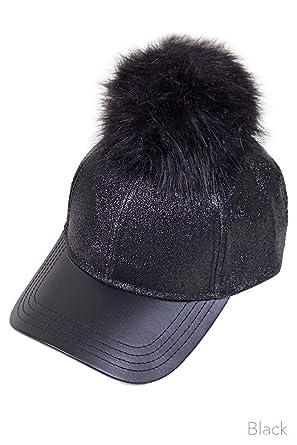 cc glitter removable fur pom baseball cap black raccoon hat fox