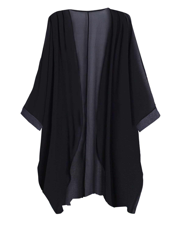 Tribear Women's Sheer Chiffon Kimono Cardigan Solid Casual Capes Beach Cover up (X-Large, Black)