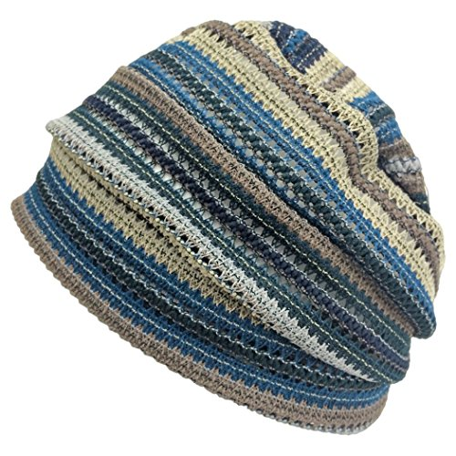 Casualbox Charm Crochet Beanie Hat Summer Mesh Tie Dye Fashion Skull Cap Unisex Cool Blue