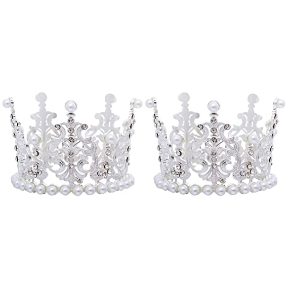 Mini Round Crown Rhinestone Pearl Tiara Cake Topper Children Hair Accessories