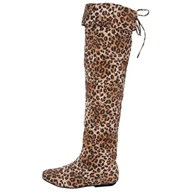 d70986f7f741 Amazon.com | Women's Camel Leopard Thigh High Lace Up Animal Print ...