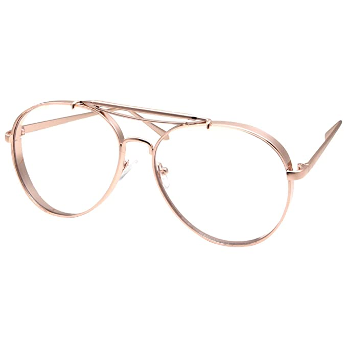 67b37653f1 Amazon.com  Large Aviator Clear Lens Glasses Mens or Womans Classic Non- Prescription Black  Clothing