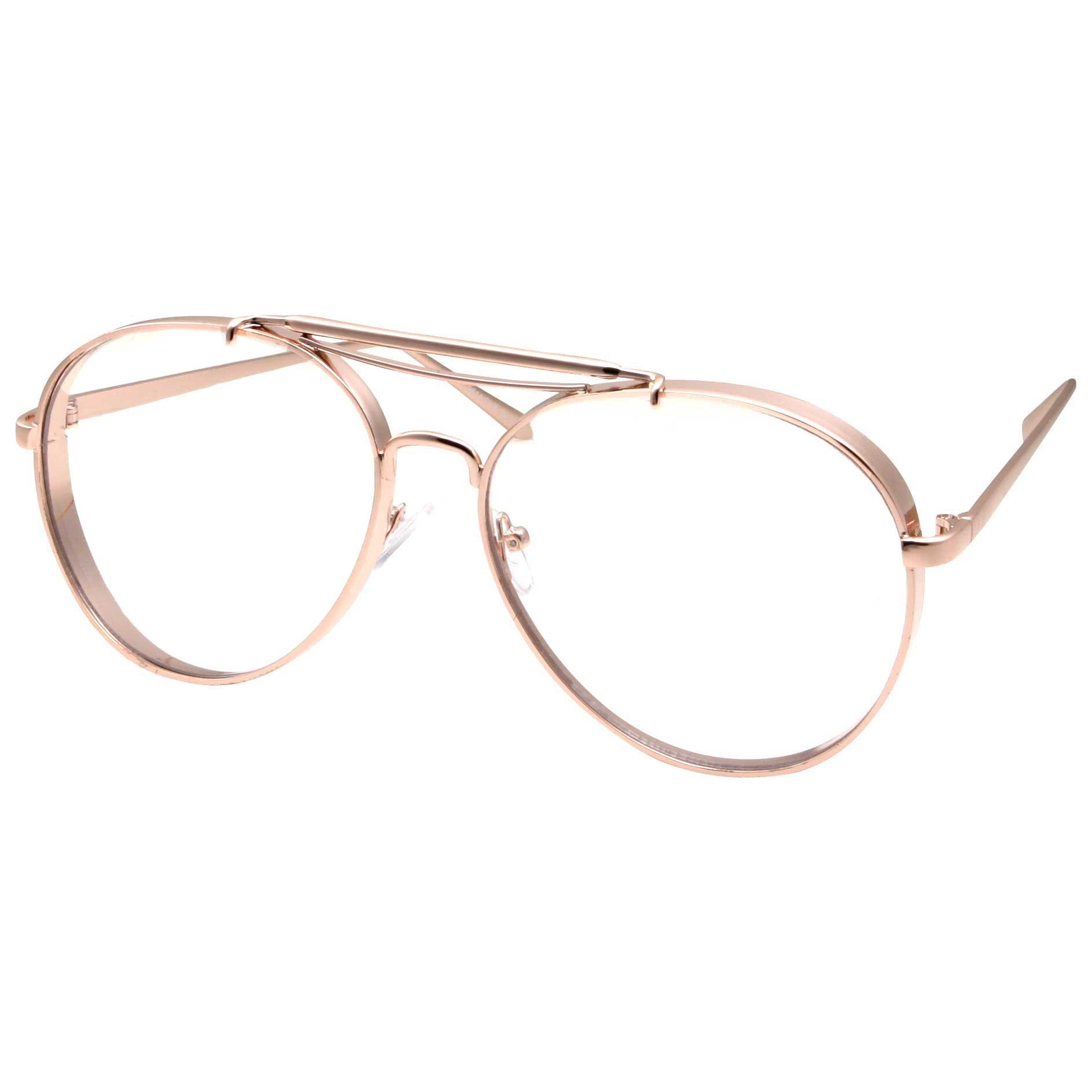 Large Aviator Clear Lens Glasses Mens or Womans Classic Non-Prescription Gold by grinderPUNCH