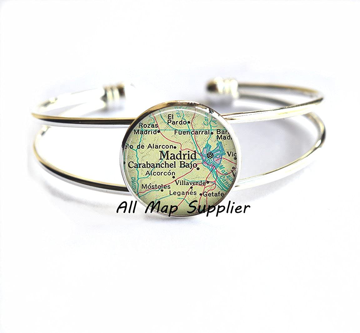 Madrid Bracelets Madrid map Bracelets map jewelry,AO155 Madrid Spain Bracelets Charming Bracelet,Madrid map Bracelet Madrid Bracelet