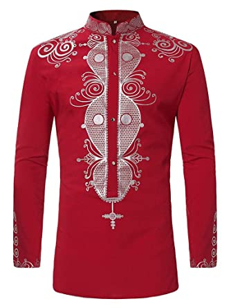0c734d0227b Luxfan Mens African Clothing Tribal Dashiki Long Shirt Traditional Ethnic  Slim Fit Outfit (B-red, L)