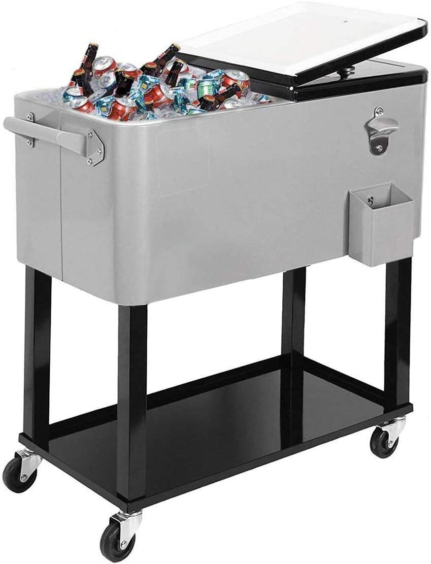 JOYBASE 80 Quart Rolling Ice Chest, Portable Patio Party Bar Drink Cooler Cart, with Shelf, Beverage Pool with Bottle Opener