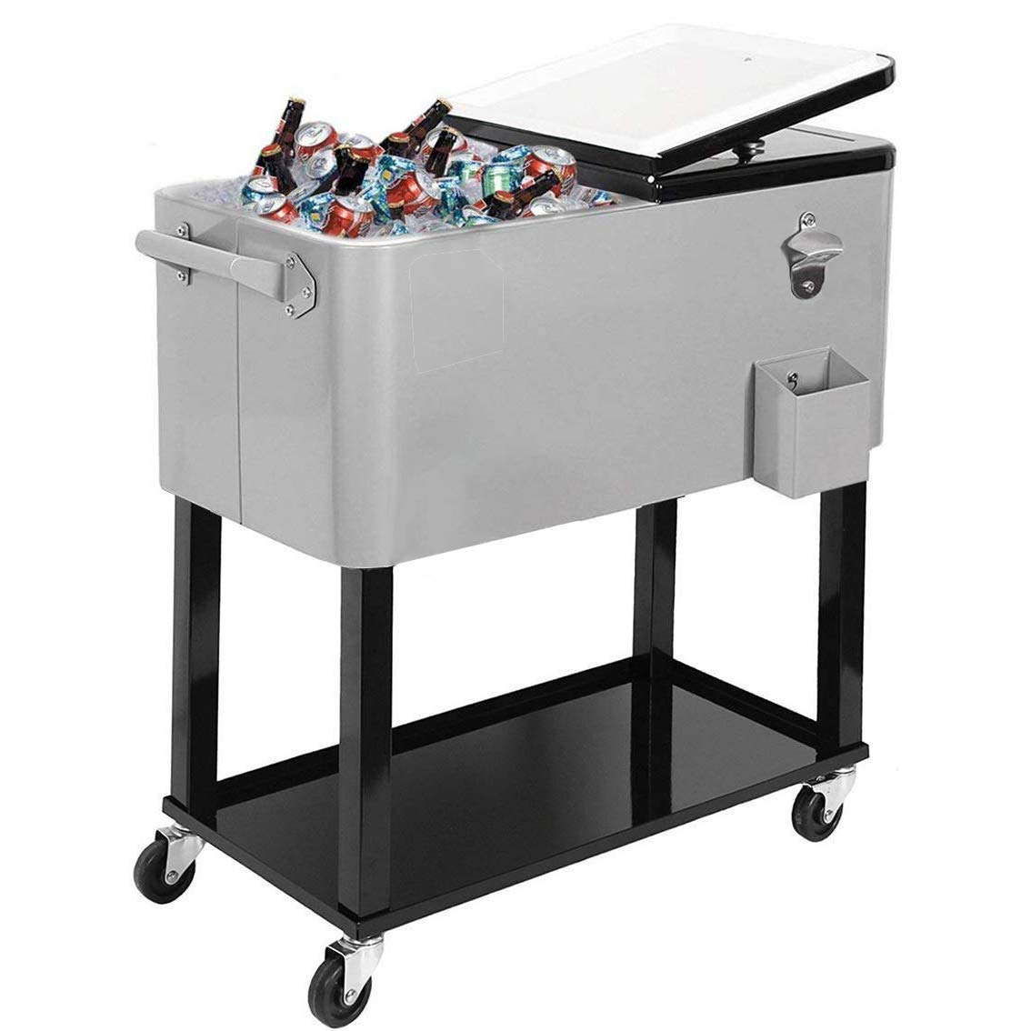 JOYBASE 80 Quart Rolling Ice Chest, Portable Patio Party Bar Drink Cooler Cart, with Shelf, Beverage Pool with Bottle Opener by JOYBASE
