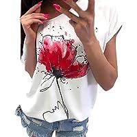 BingYELH Women Casual Floral Print Blouse Summer Short Sleeve Loose Tops Off Shoulder Tee Shirt