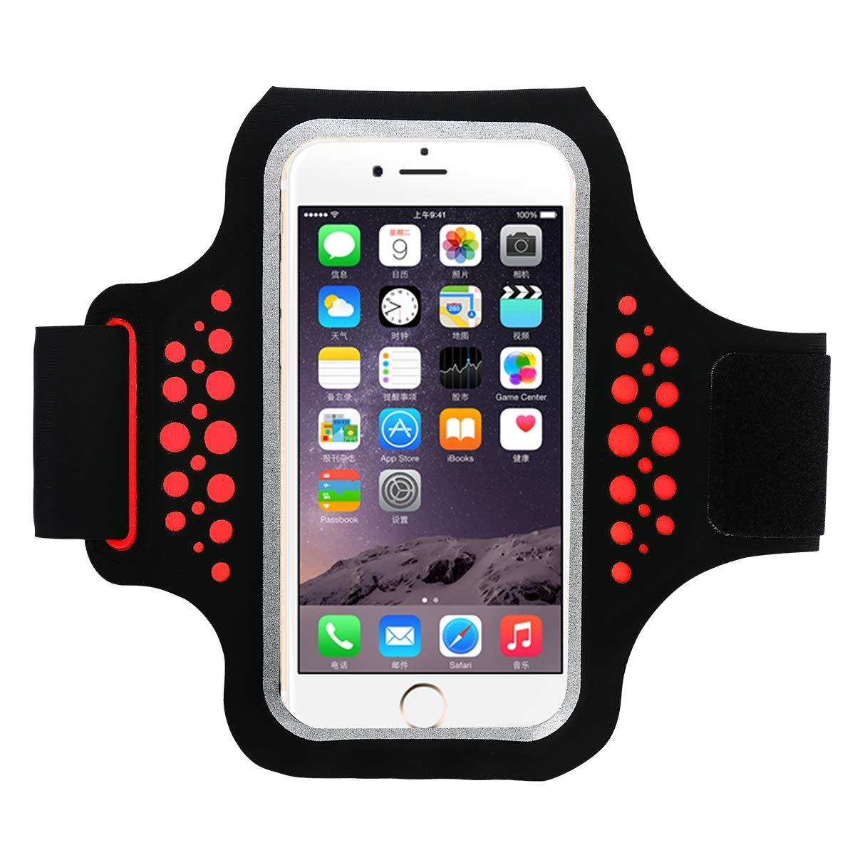 PURROMM Brassard étanche, avec écouteurs et Porte-clés, adapté aux téléphones Android iPhone 8/7 / 6S / 6 jusqu'à 5,5 Pouces de brassards,Red,5.0inches
