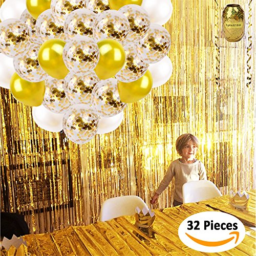 Gold Foil Fringe Curtains Tinsel Backdrop 2 Pack 3.3ft x 9.8ft + Gold Confetti Balloons x16 Pcs by FunDeco Party Streamers | 6 Gold and White 12