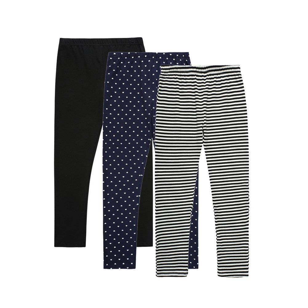 UNACOO Casual Girls 3-Pack Pull On Leggings Pants(Solid Black+dosts Navy+Stripe White, m(7-8T))
