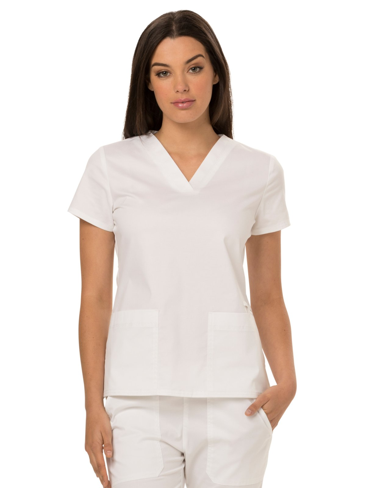 Dickies Gen Flex Women's V-Neck Solid Scrub Top X-Large White