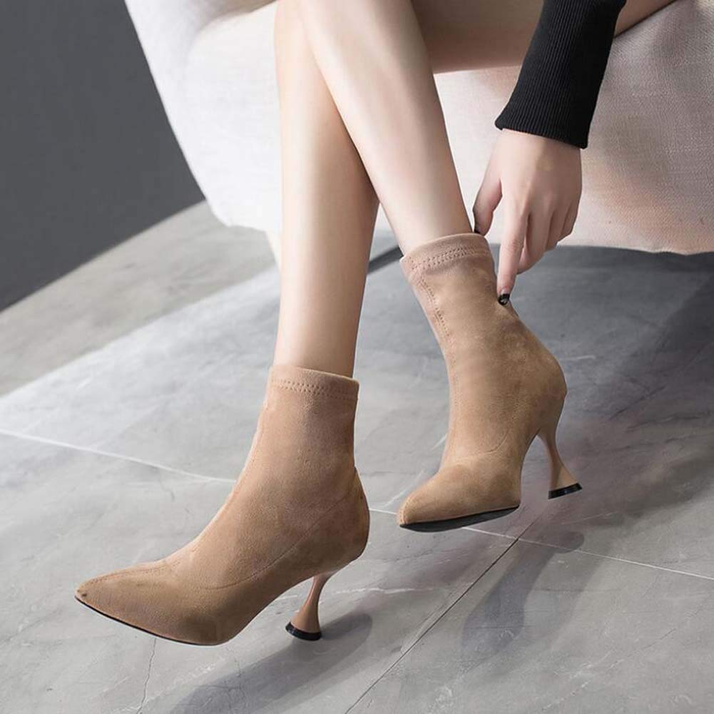 7Cm Stiletto Elastic Ankle Stiefel Party Toe Dress Schuhe Frauen Elegant Pointed Toe Party Pure Farbe Martin Stiefel OL Host Schuhe Eu Größe 35-39 f83f6f