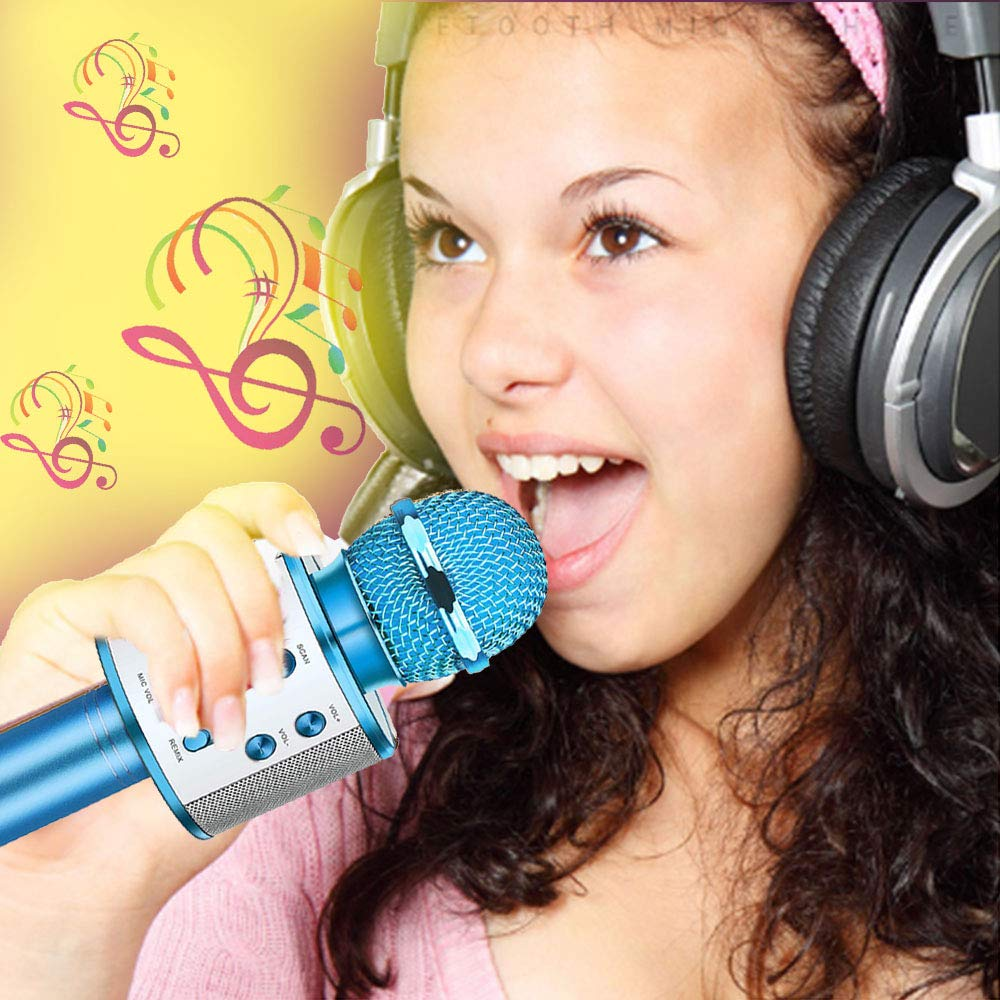 Fun Toys For 4-15 Year Old Girls,Niskite Handheld Karaoke Microphone For Kids Age 7-14,Birthday Gifts for 8 9 10 11 Years Old Boys Girls Blue by Niskite (Image #4)