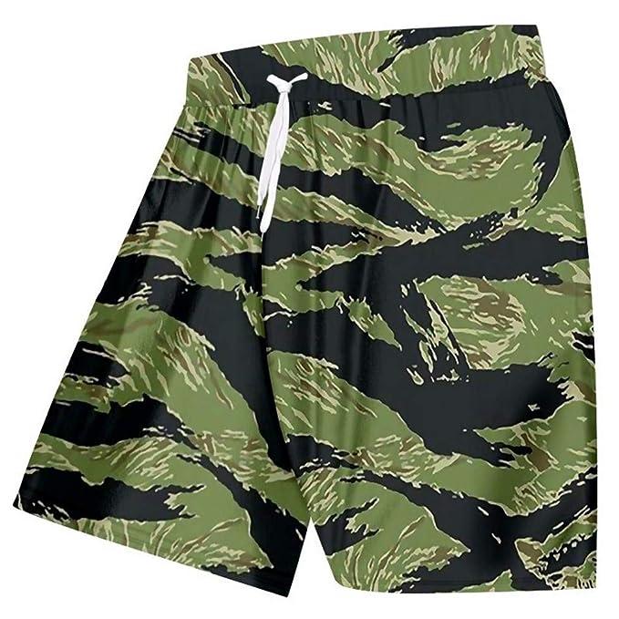 Pantalones Cortos Ocasionales del Verano De Los Hombres De ImpresióN Fresca  Camuflaje Verde Playa Pantalones Cortos De Playa Hombre Hiphop Punk  Pantalones ... 7eb8f972085