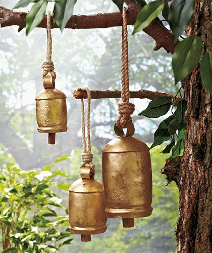 Set of 3 Hanging Harmony Bells Garden Rustic Relaxing Tranquil Wind Chimes