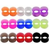 Longbeauty 9 Pair Thin Silicone Ear Skin Flexible Flesh Tunnel Expander Gauge Earlets 9 Colors