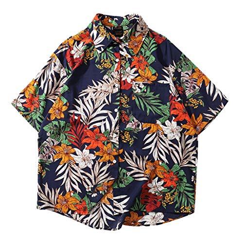(Toimothcn Aloha Shirt, Men's Baggy Floral Printed Hawaiian Shirt Short Sleeve Casual Button Down Shirts (Black3,M))