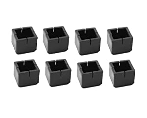 "Antrader 8-Pack Black Silicone Furniture Pads Square Shape Floor Protector Chair Sofa Non-Slip Feet Pad Leg Cap with Felt Pads Fit 1-1/8 to 1-3/8"" (3.1-3.6cm)"