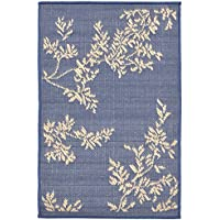 AREA RUGS -SCROLLING VINES INDOOR OUTDOOR RUG - BLUE - 23 x 35