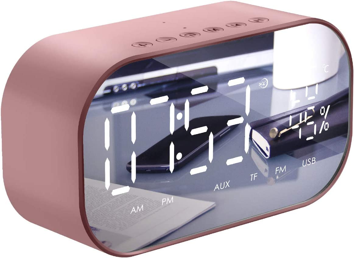 Leyeet Alarm Clock Radio, Alarm Clocks for Bedroom with Wireless Bluetooth Speaker, USB Charger, TF Card Play, Thermometer, Large Mirror LED Dimmable Display AUX-in Function for Home, Office, Travel