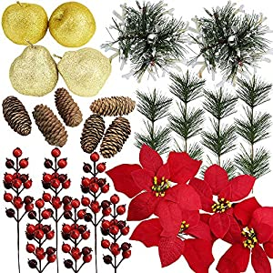 26 Pcs Assorted Artificial Winter Christmas Table Decorations Set Table Scatter Vase Bowl Fillers Golden Glitter Apples & Pears Mini Pine Cones Poinsettia Flower Heads Plastic Snowflakes Red Berry Pic 11