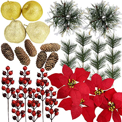 26 Pcs Assorted Artificial Winter Christmas Table Decorations Set Table Scatter Vase Bowl Fillers Golden Glitter Apples & Pears Mini Pine Cones Poinsettia Flower Heads Plastic Snowflakes Red Berry Pic