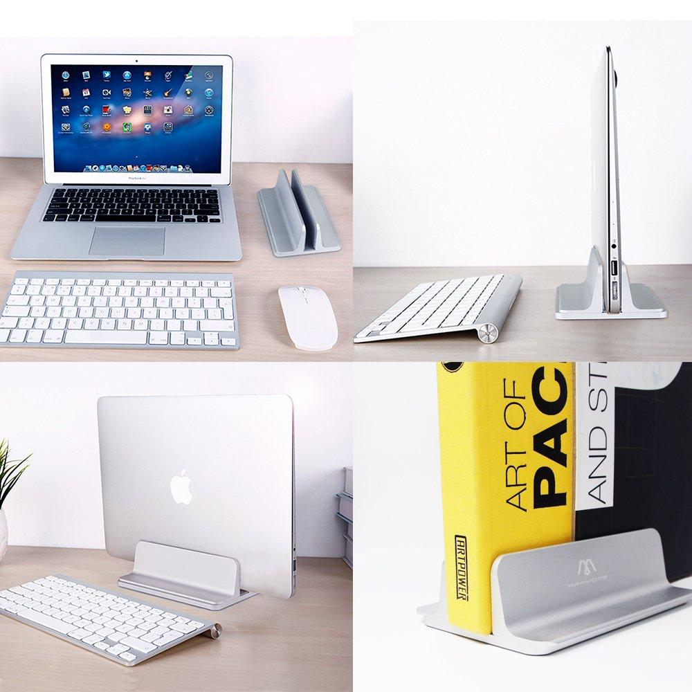 APPHOME Aluminio Vertical Macbook Soporte Portátil Soporte Soporte Ajustable para Ordenador Portátil Tablet Apple Macbook Pro/Aire Espacio Ahorro Artístico ...