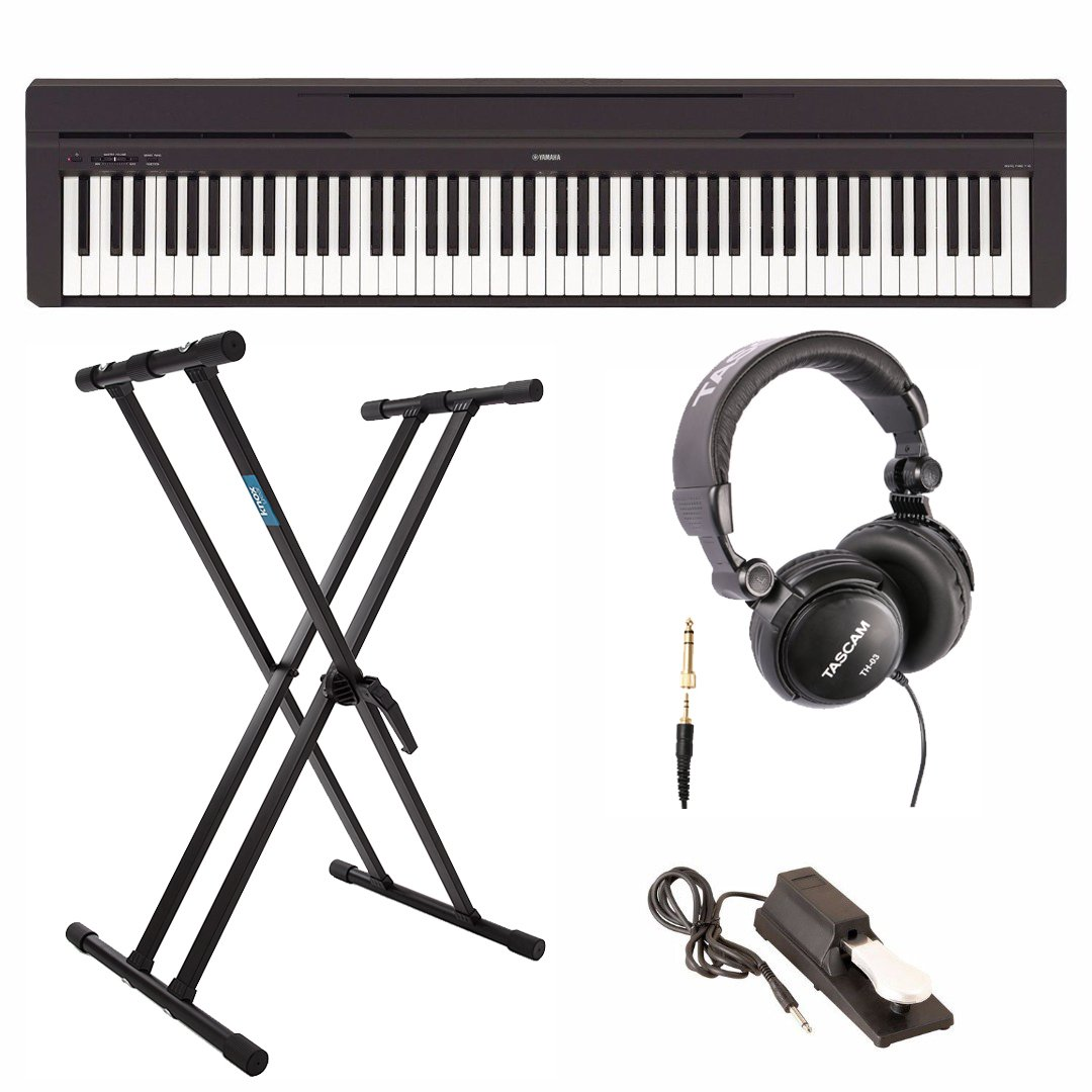 Yamaha P45B Digital Piano with Knox Double X Keyboard Stand, Full-Size Headphones, and Sustain Pedal by Yamaha