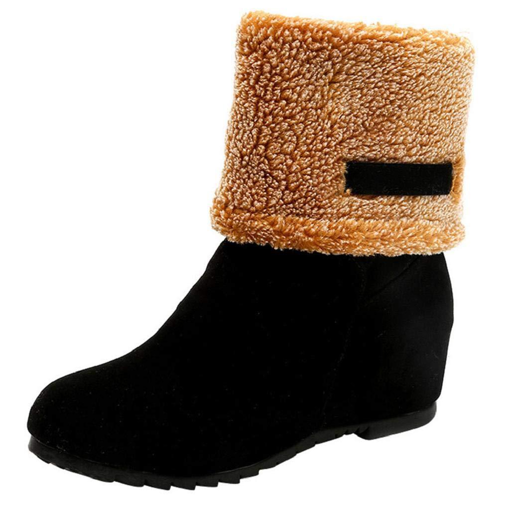 REYO Women Waterproof Snow Boots Suede Round Toe Wedges Warm Slip-On Plush Casual Winter Walking Martin Boot Shoes
