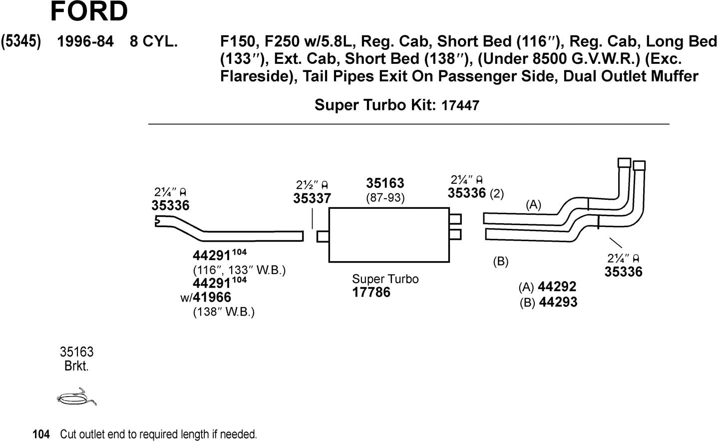 Dynomax 35163 Hardware Bracket Assembly