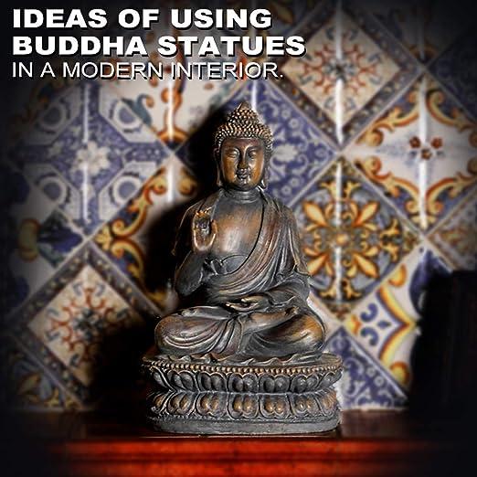 ARAIDECOR Buda Escultura Decoración para el hogar y Exterior Estatua de jardín – 15 x 8,7 x 10,2 Pulgadas: Amazon.es: Jardín